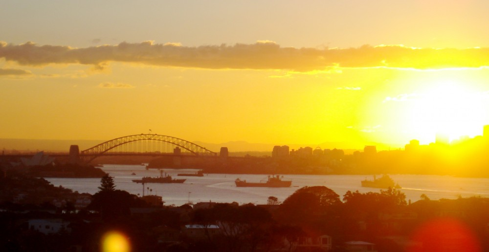 Sunset over Sydney Harbor Bridge in Australia