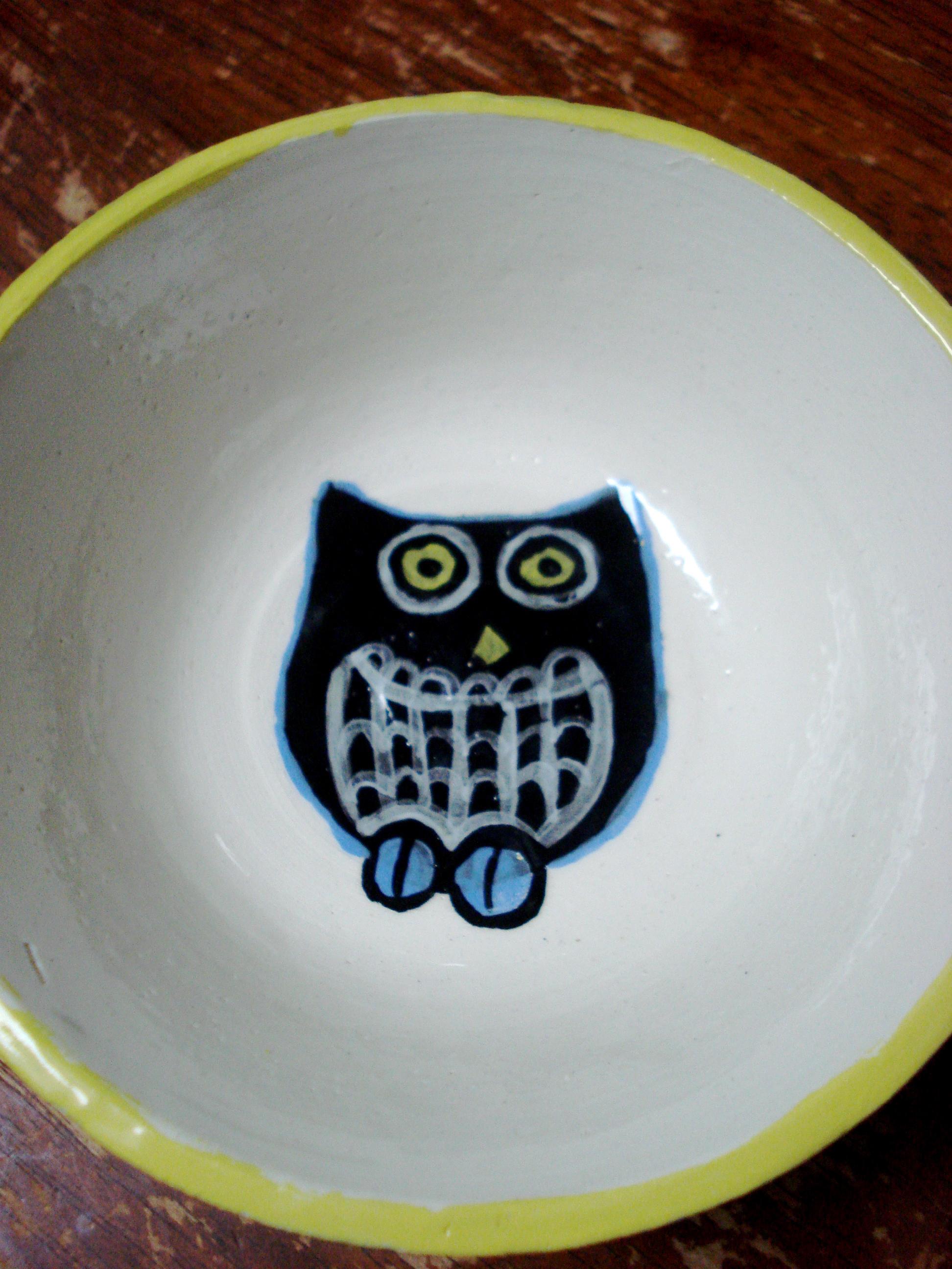ceramics: owl bowl