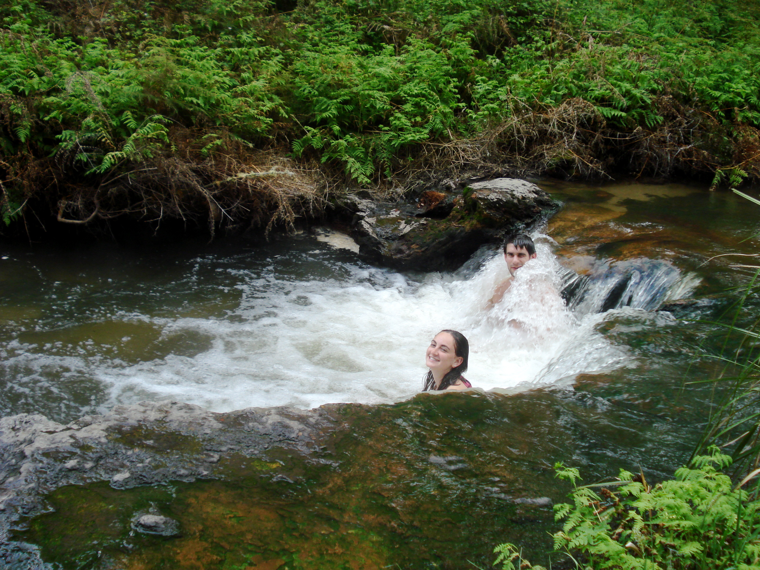 Swimming in a geothermal river in New Zealand