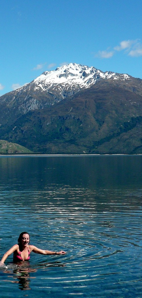 Swimming in a glacial lake on the South Island of New Zealand