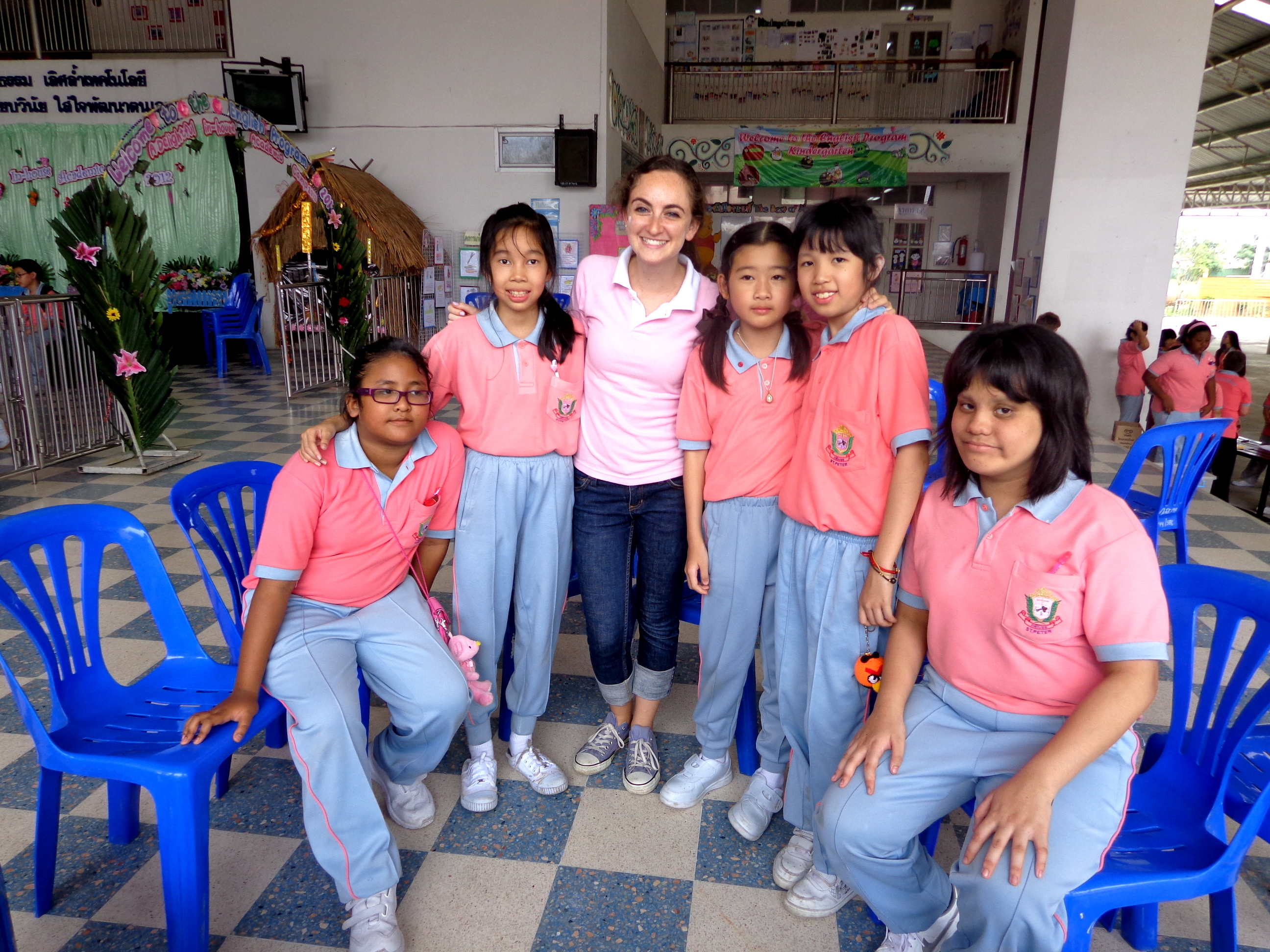 Teaching English in Thailand: With some of my grade 5 students