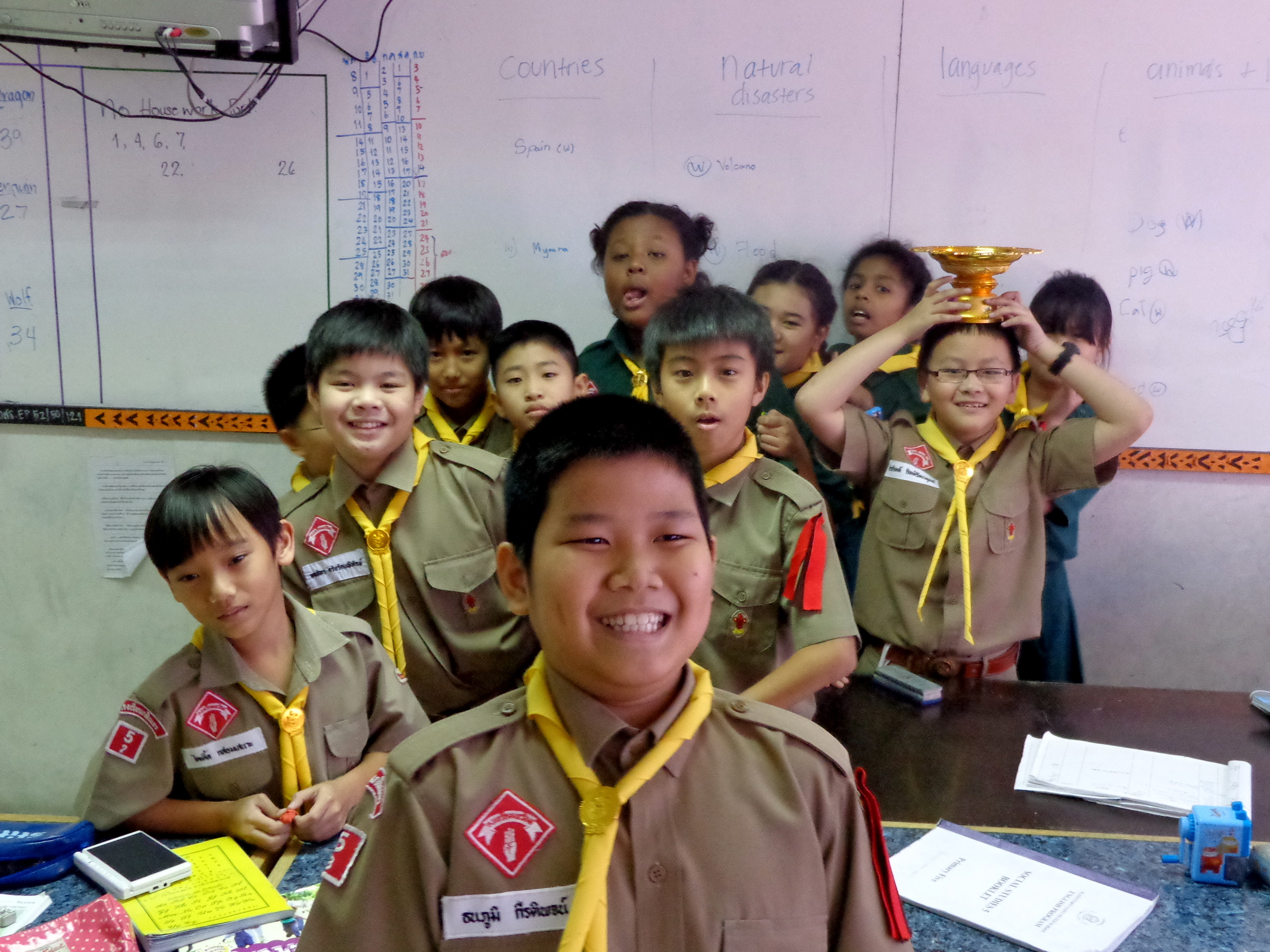 Some students from my favorite class just being boy scouts.