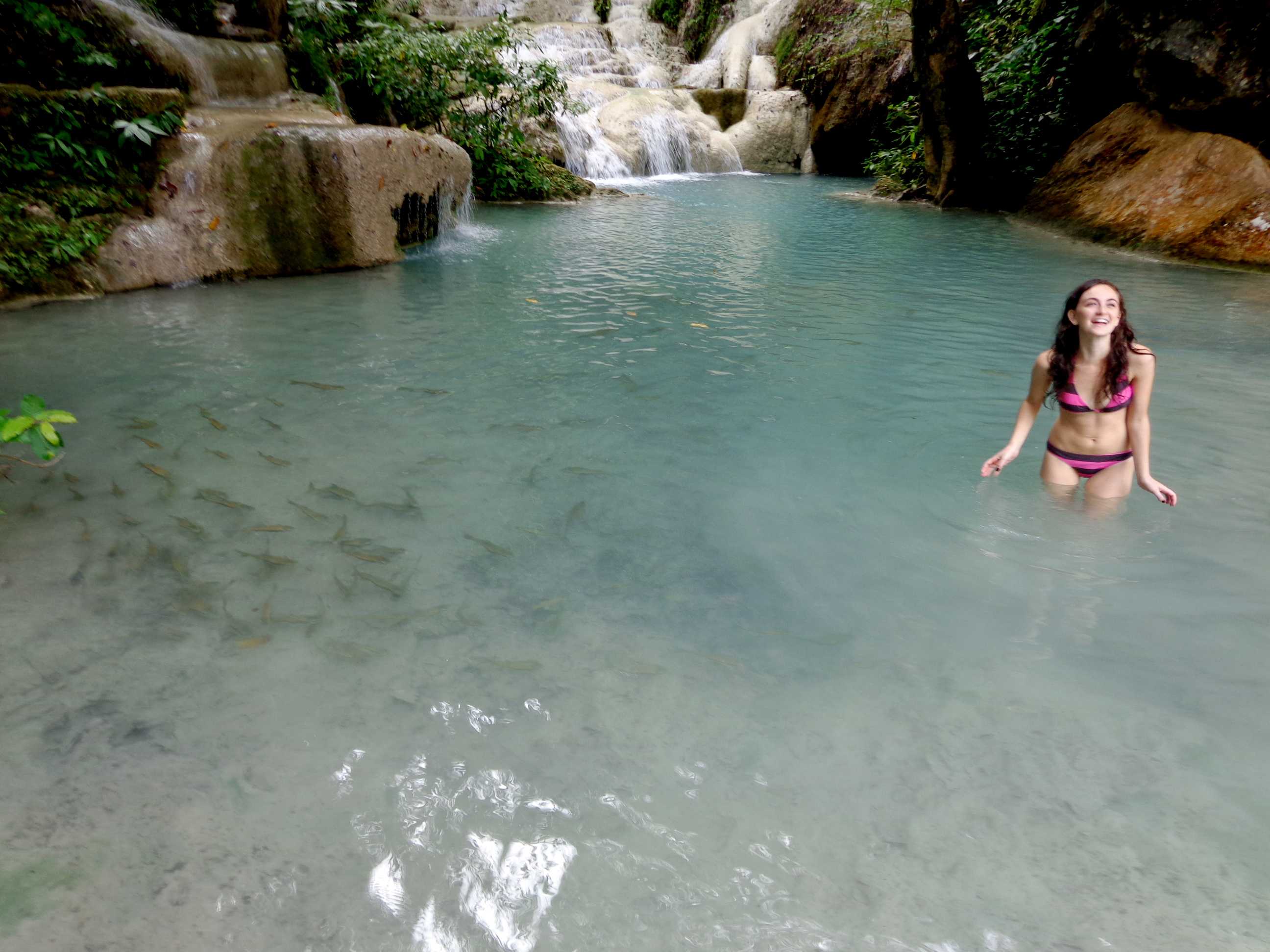 Swimming in waterfalls in Kanchanaburi, Thailand