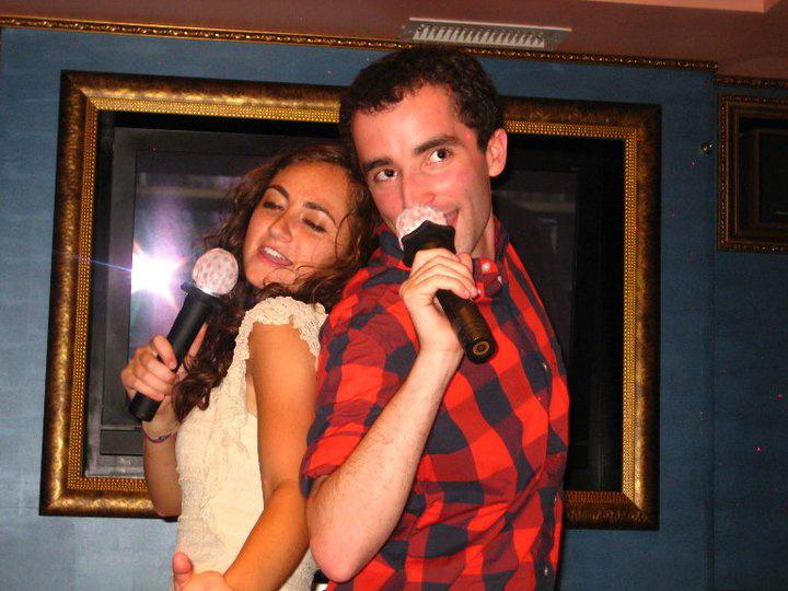 Singing karaoke in Athens