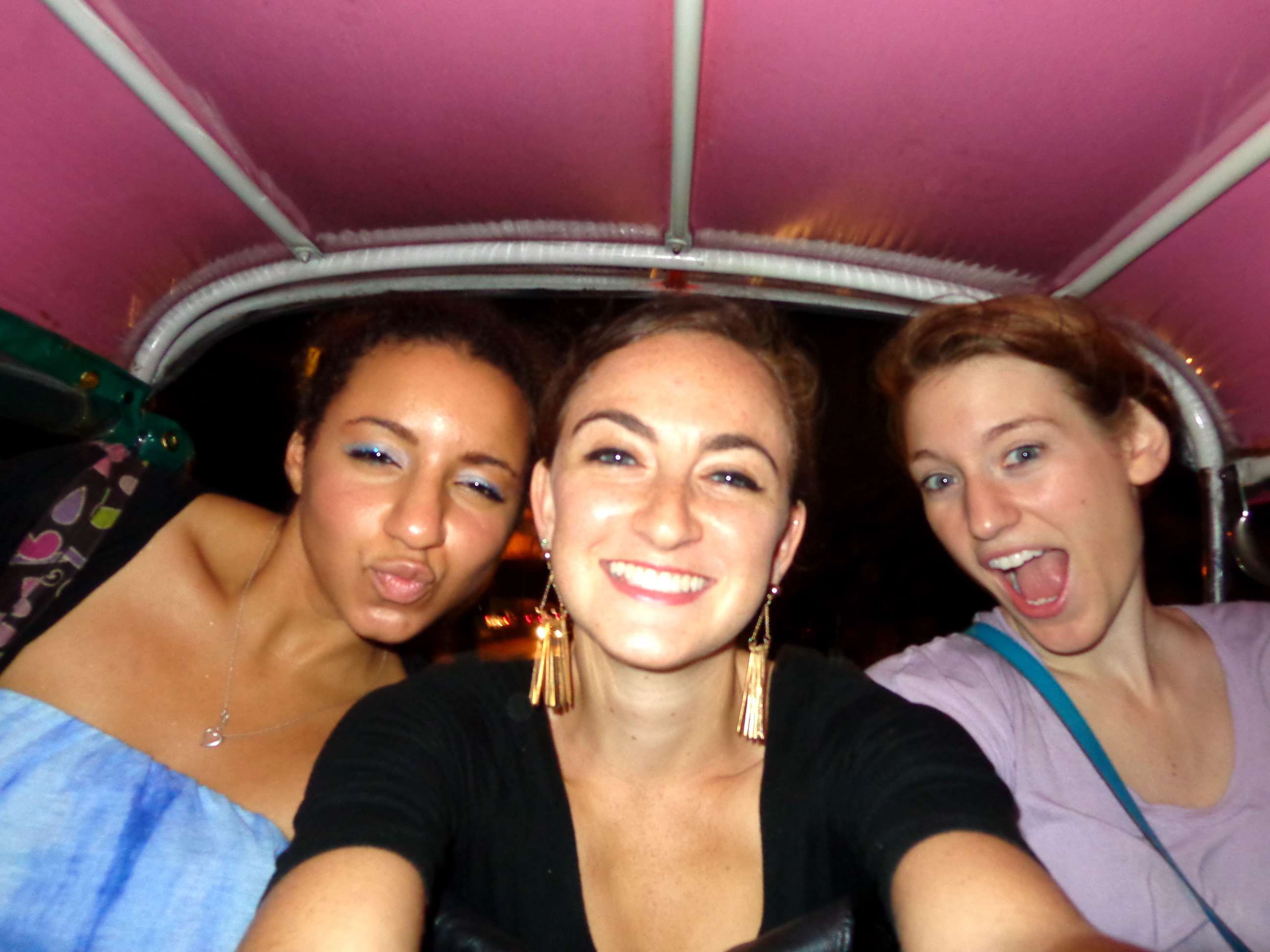 riding in a tuk tuk to party on khao san