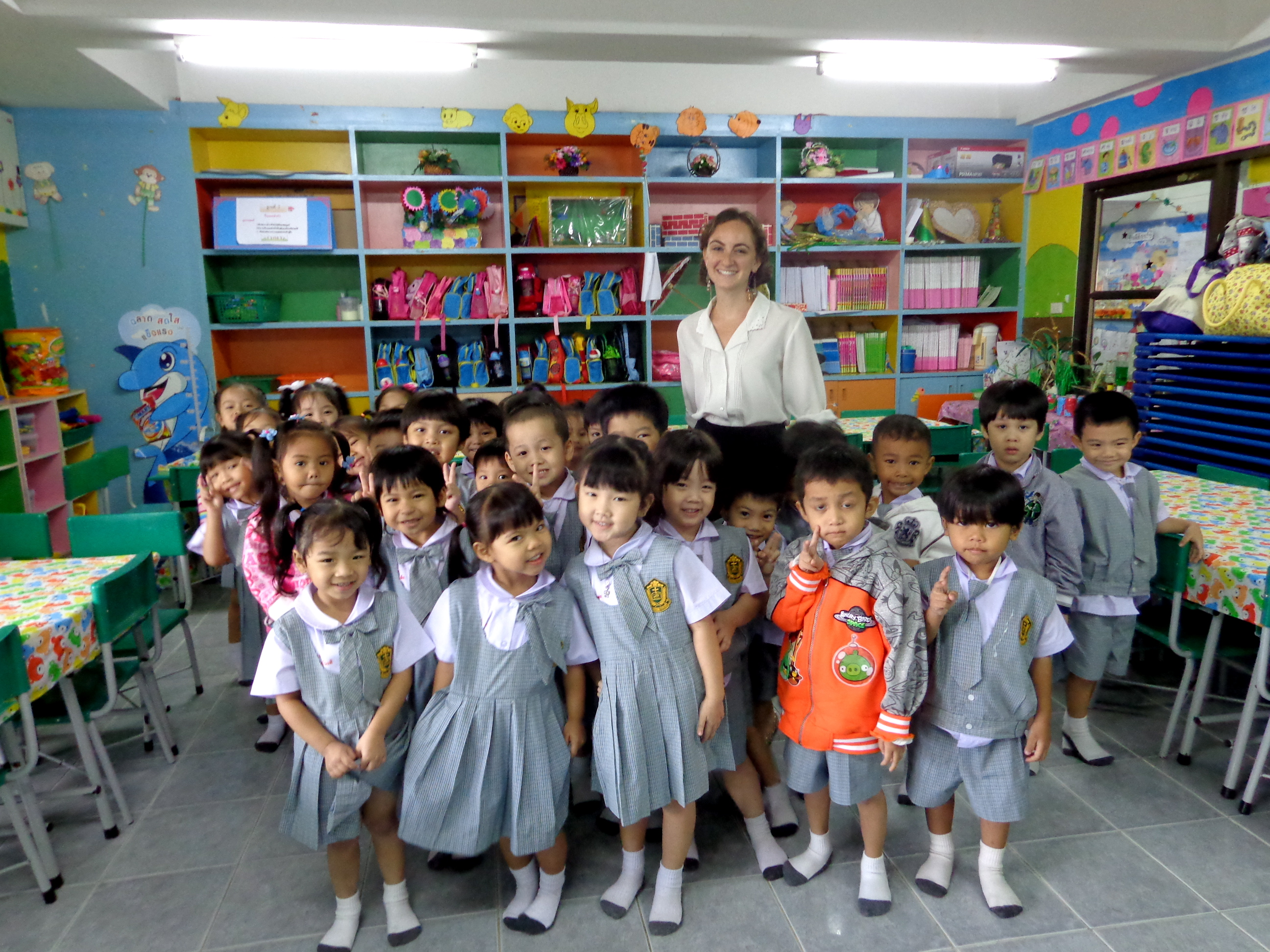 Posing with my students in Bangkok, Thailand