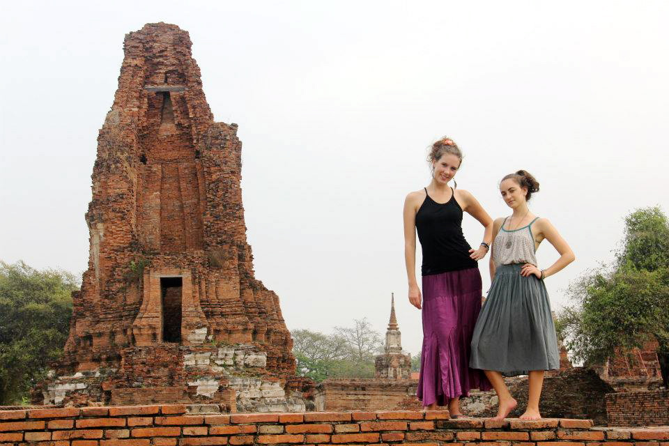 Posing on walls in Ayutthaya