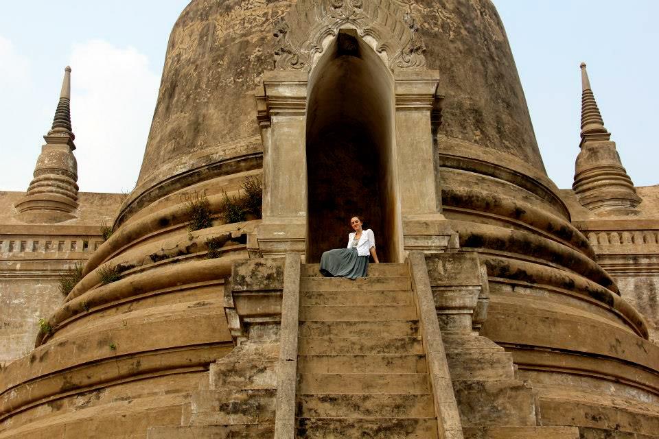 Posing in stupas in Ayutthaya
