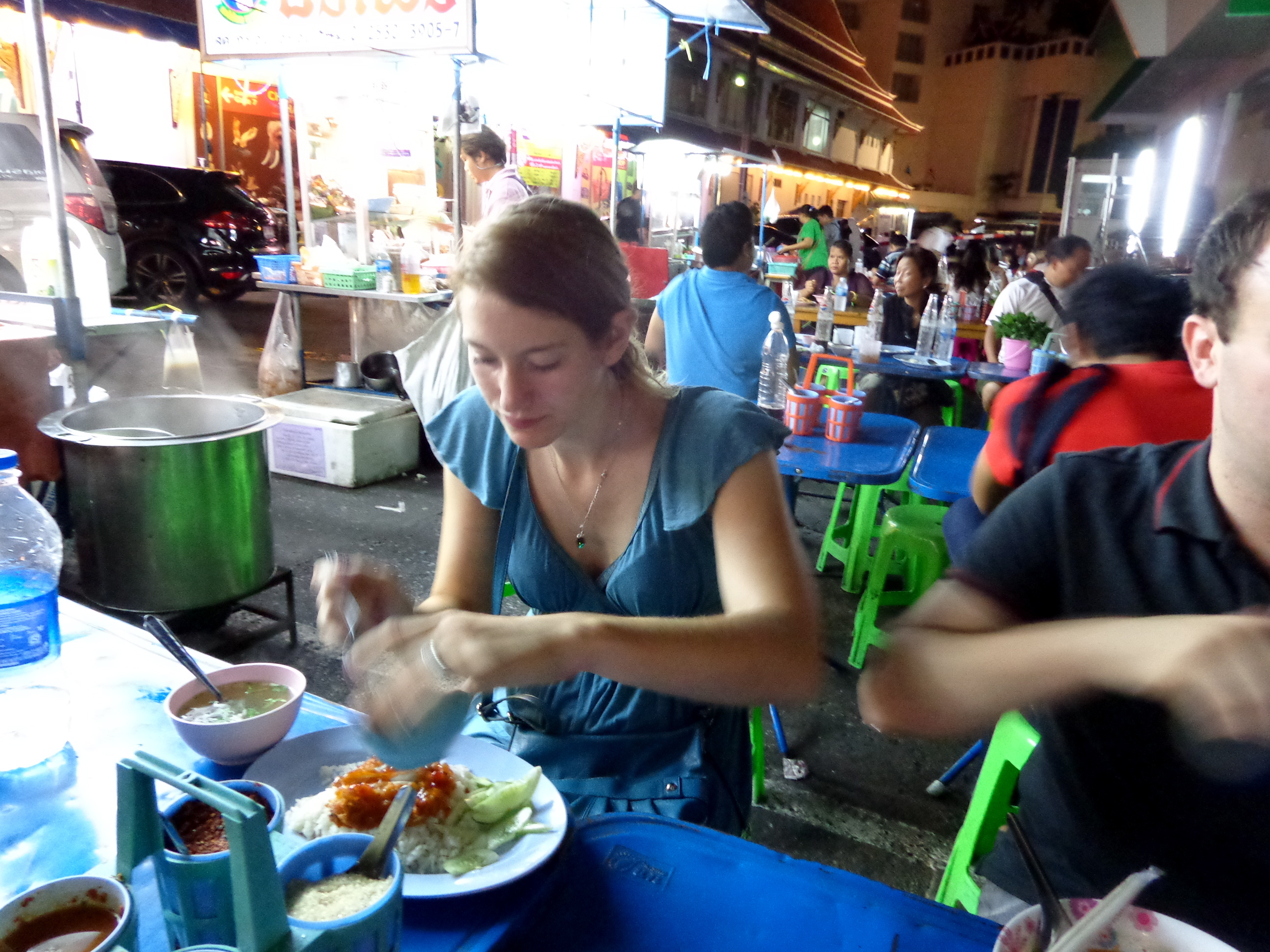 Eating street food in Thailand