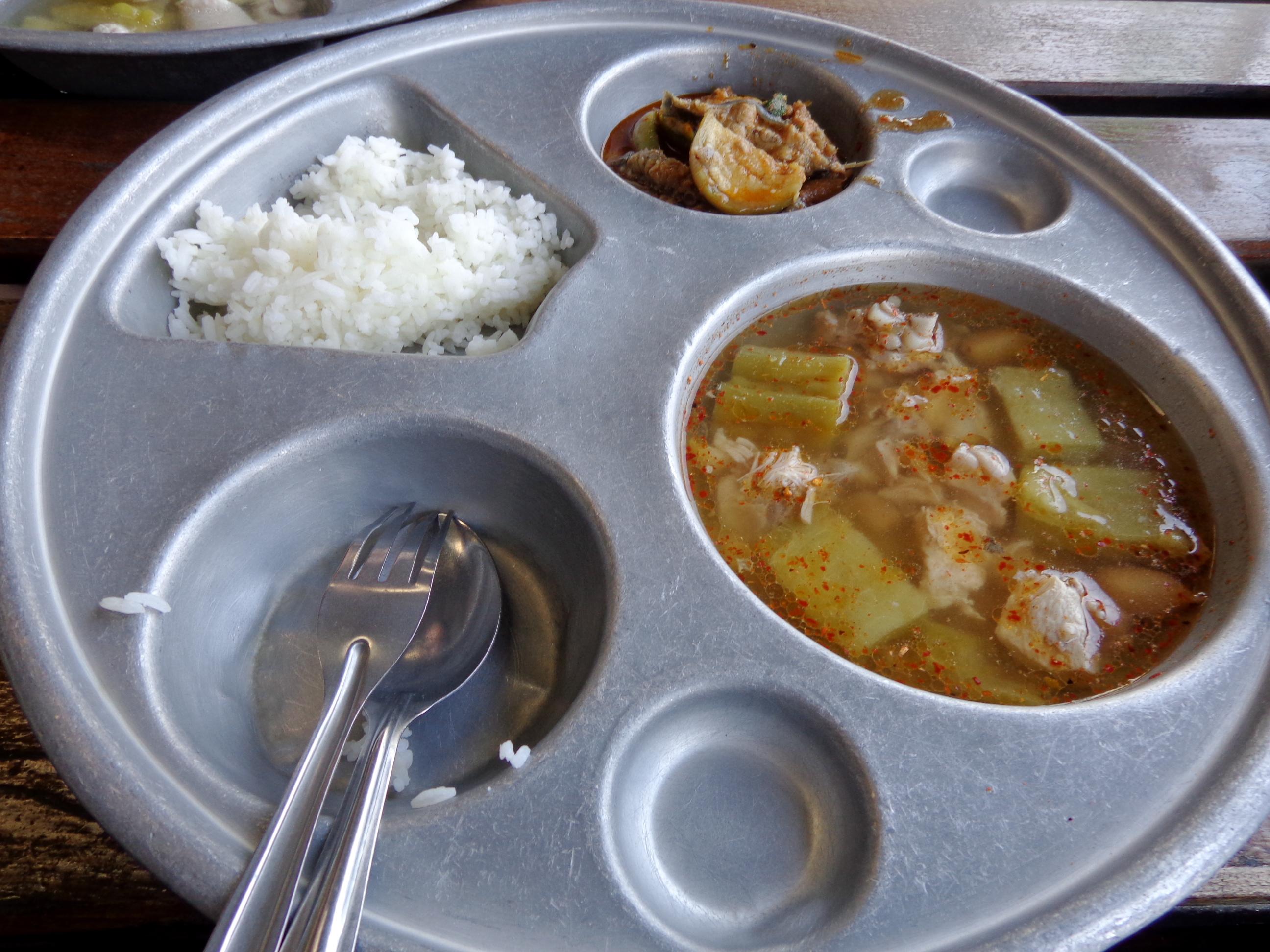 Eating Thai food at school
