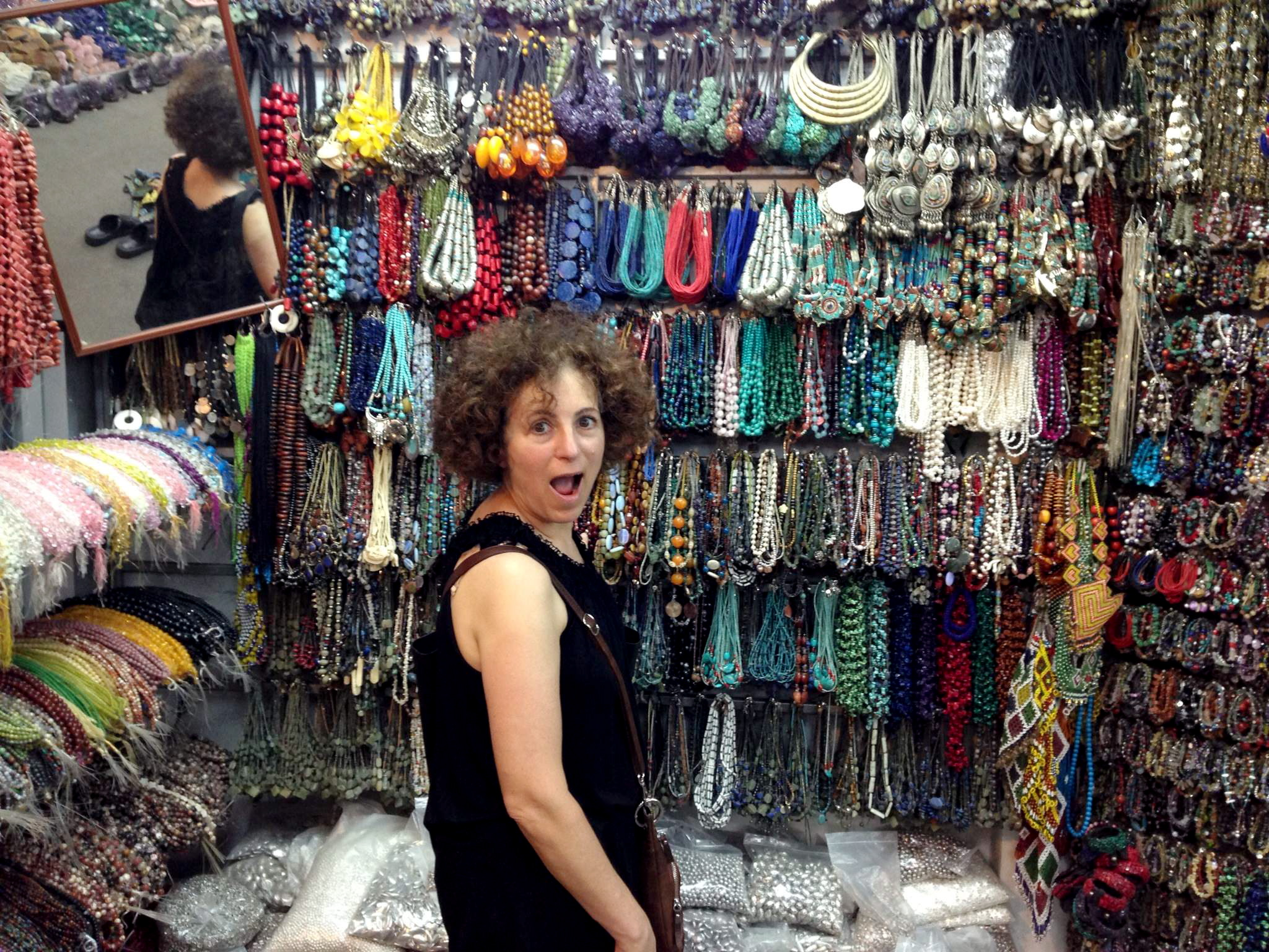 Mom in a jewelry shop in Thailand