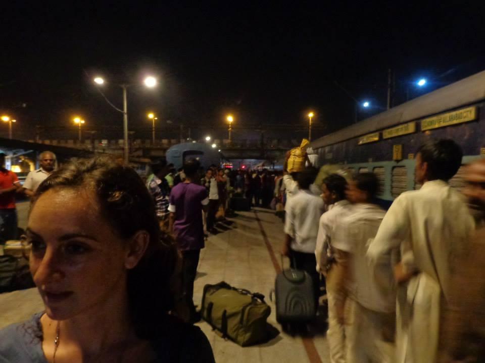 At the train station in Kolkata, India