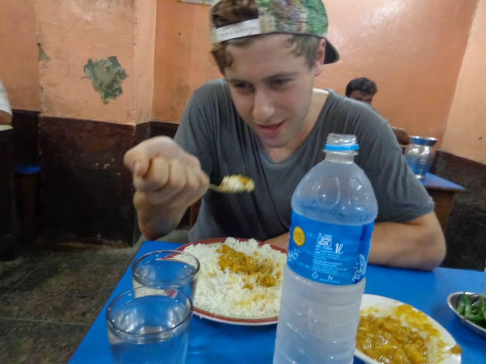 Jordan eating in Kolkata, India