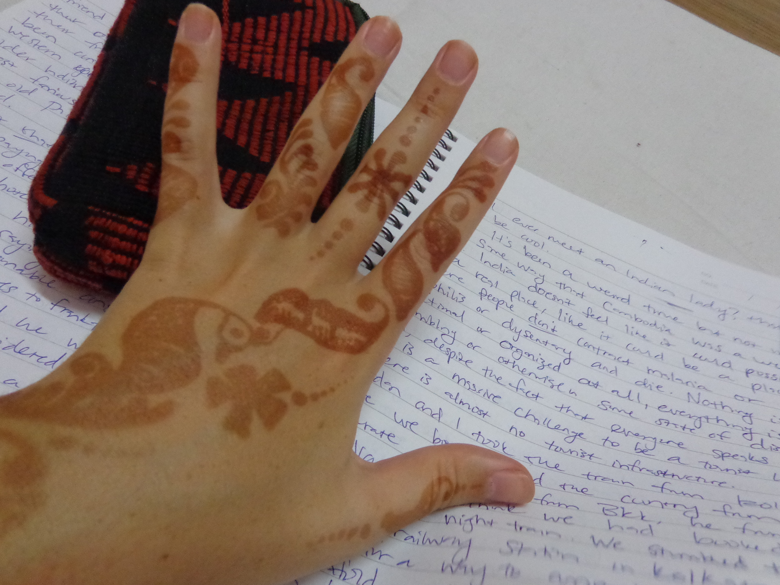 Writing in my journal while in India