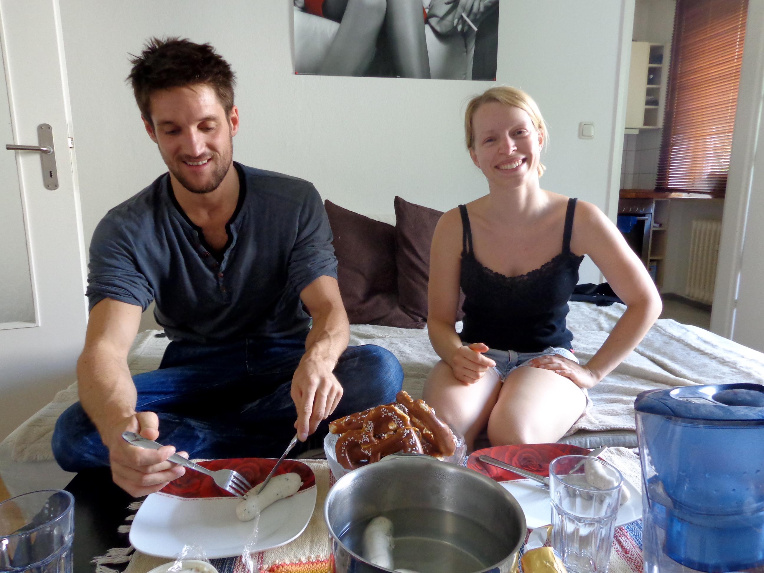 Eating a Bavarian breakfast in Munich