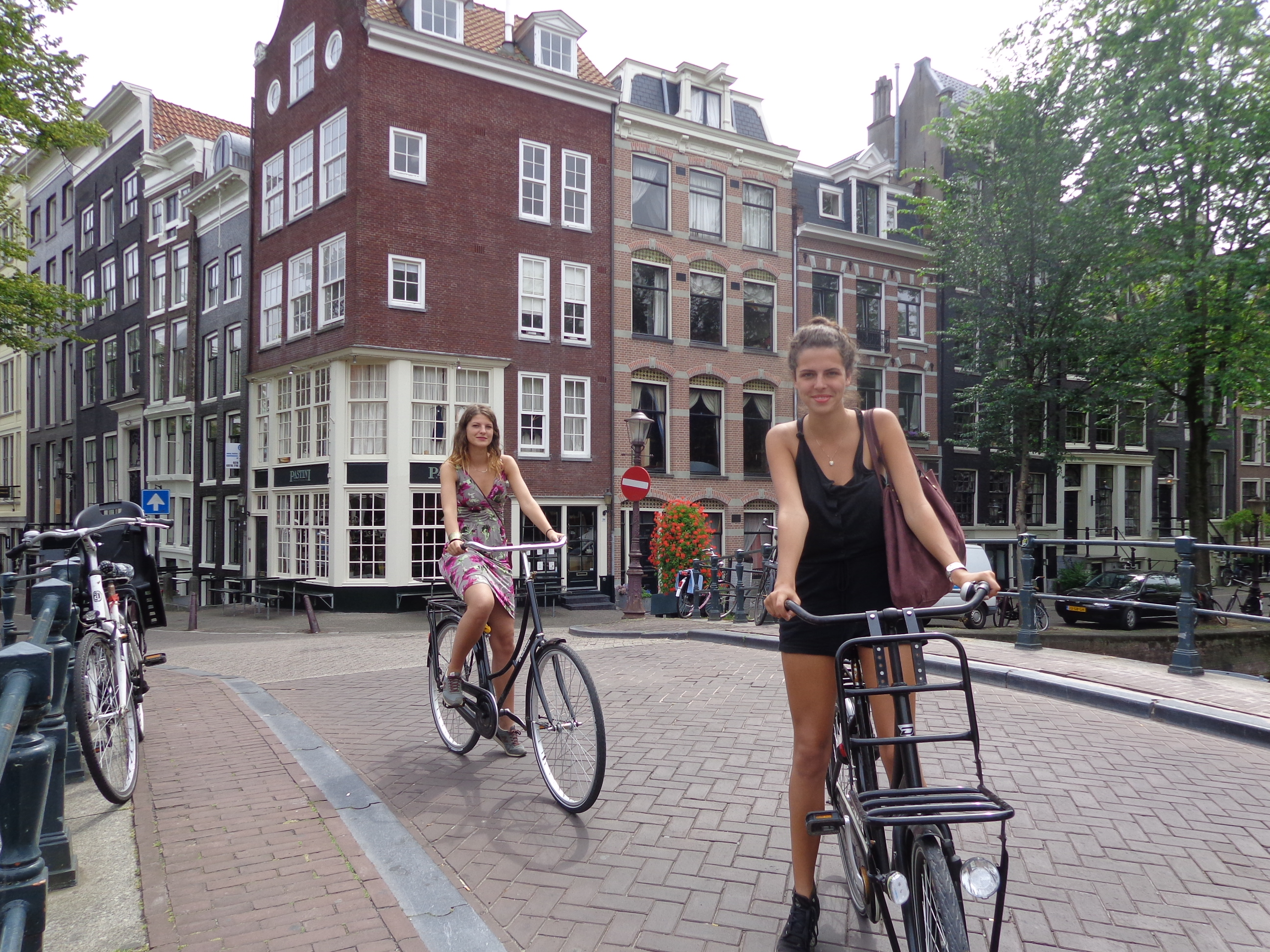 Riding bikes through Amsterdam