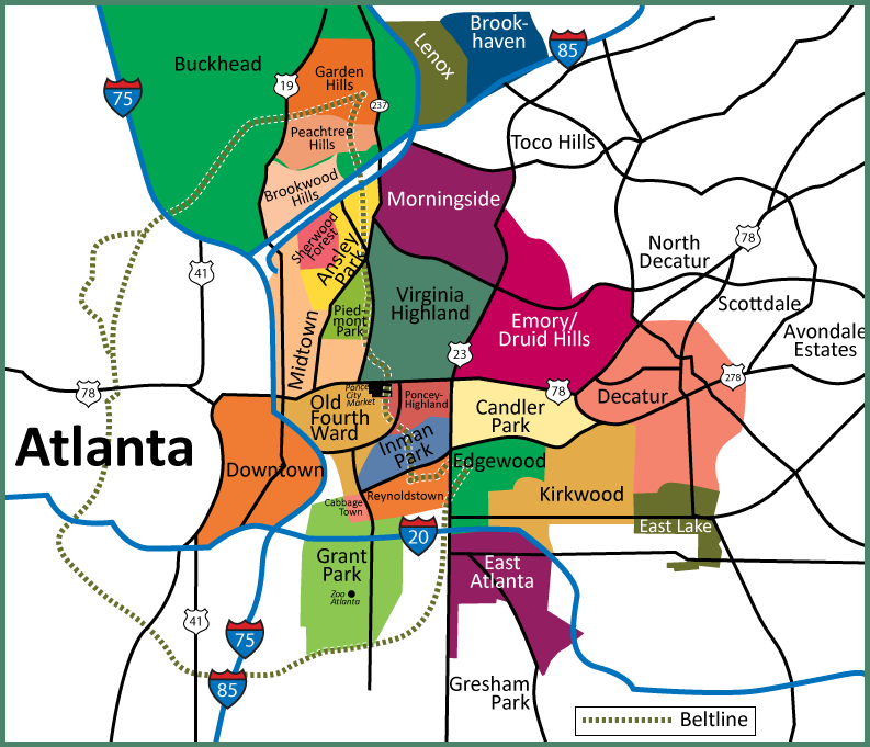Map of Atlanta neighborhoods