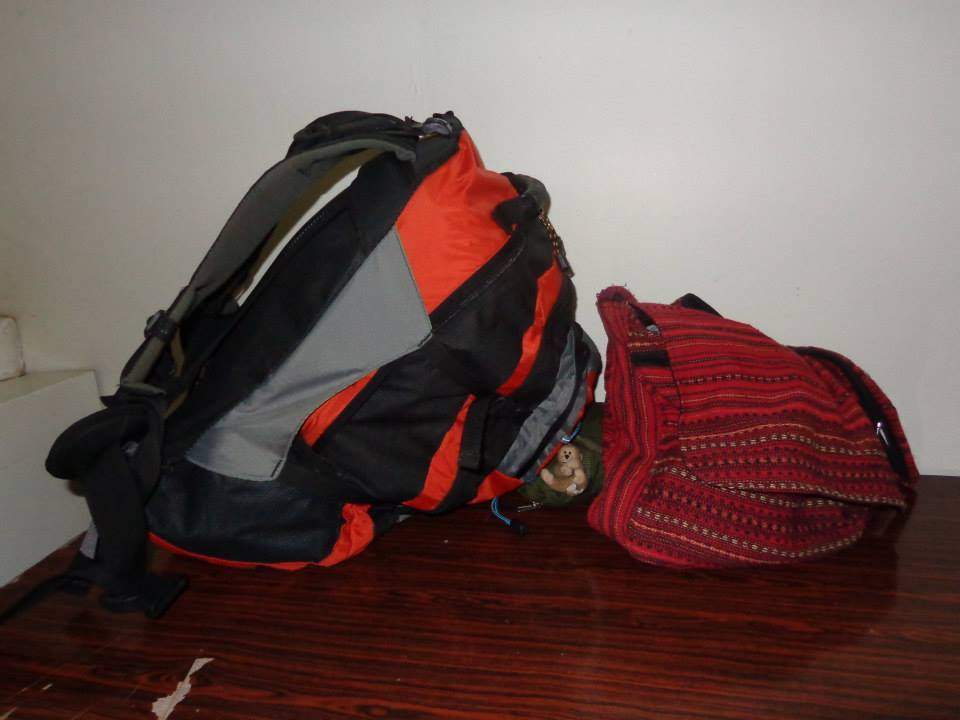 Packing for Southeast Asia: a small backpack and purse