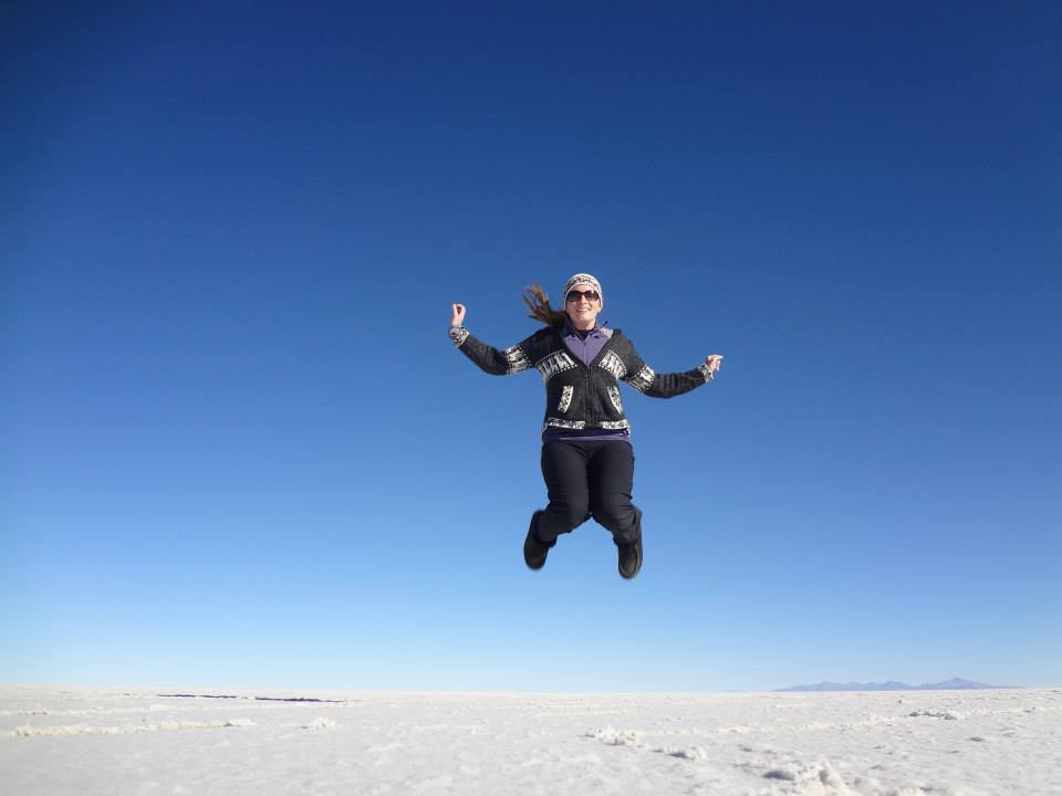 Jumping around in the salt flats of Uyuni, Boliva, Jackie's favorite excursion in the region so far.