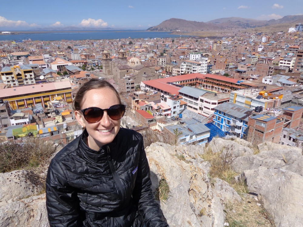 Wearing my nanopuff on a hike to the statue overlooking Puno and Lake Titicaca