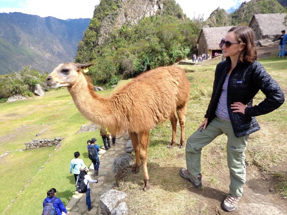 Making friends at Machu Picchu in my Merrell hiking boots