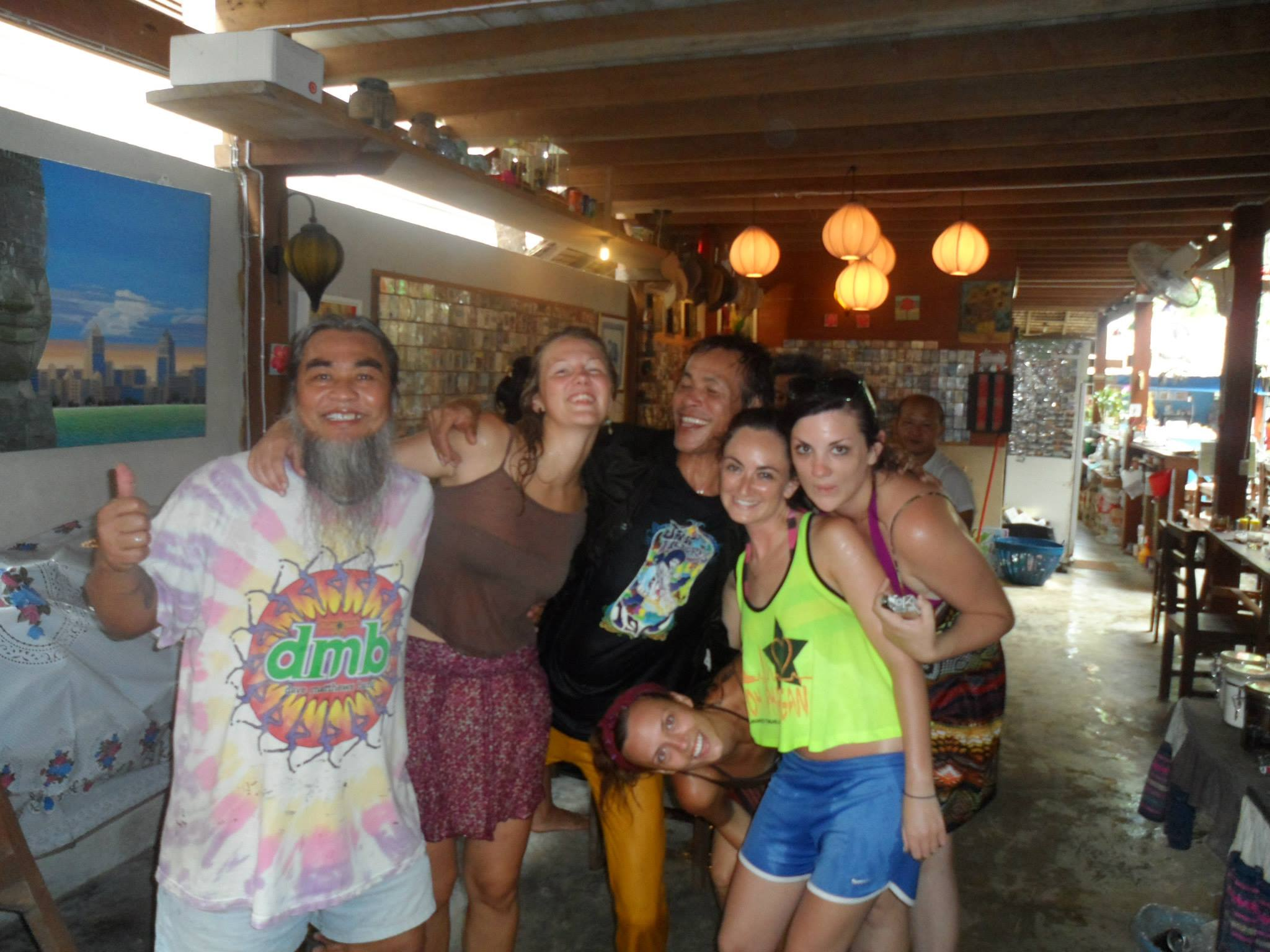Making friends with the Thai owners at Stone Free during Songkran (national annual water festival in Thailand)