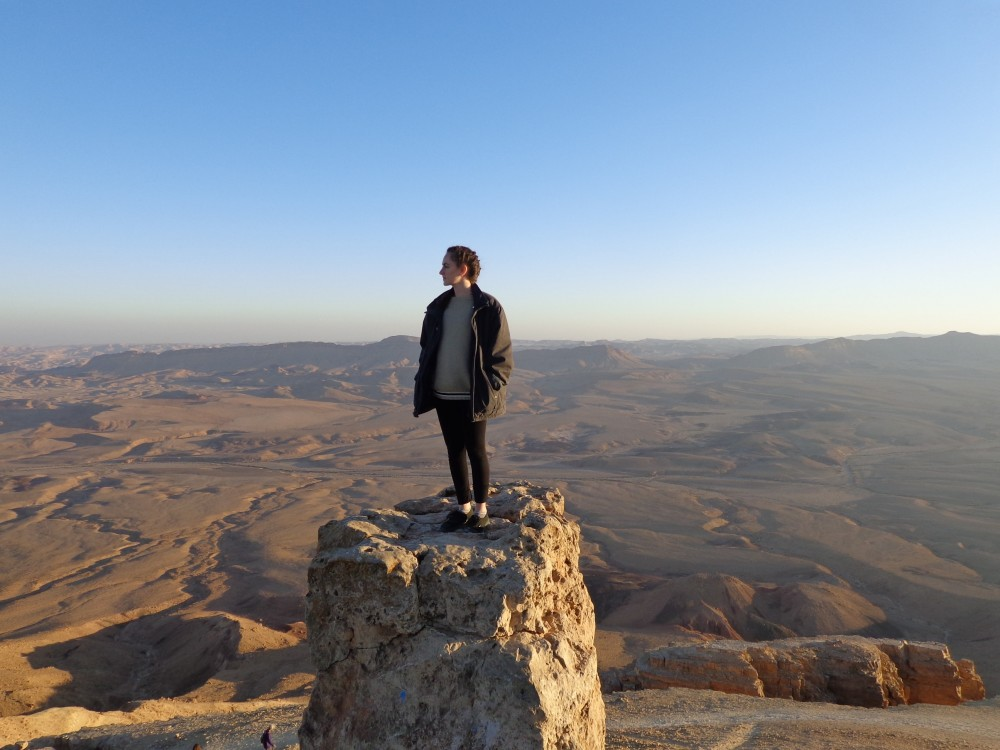 Standing on Camel Hill in Mitzpe Ramon at sunset