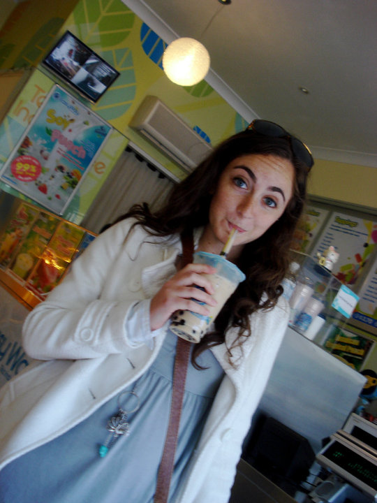Having some bubble tea in Sydney