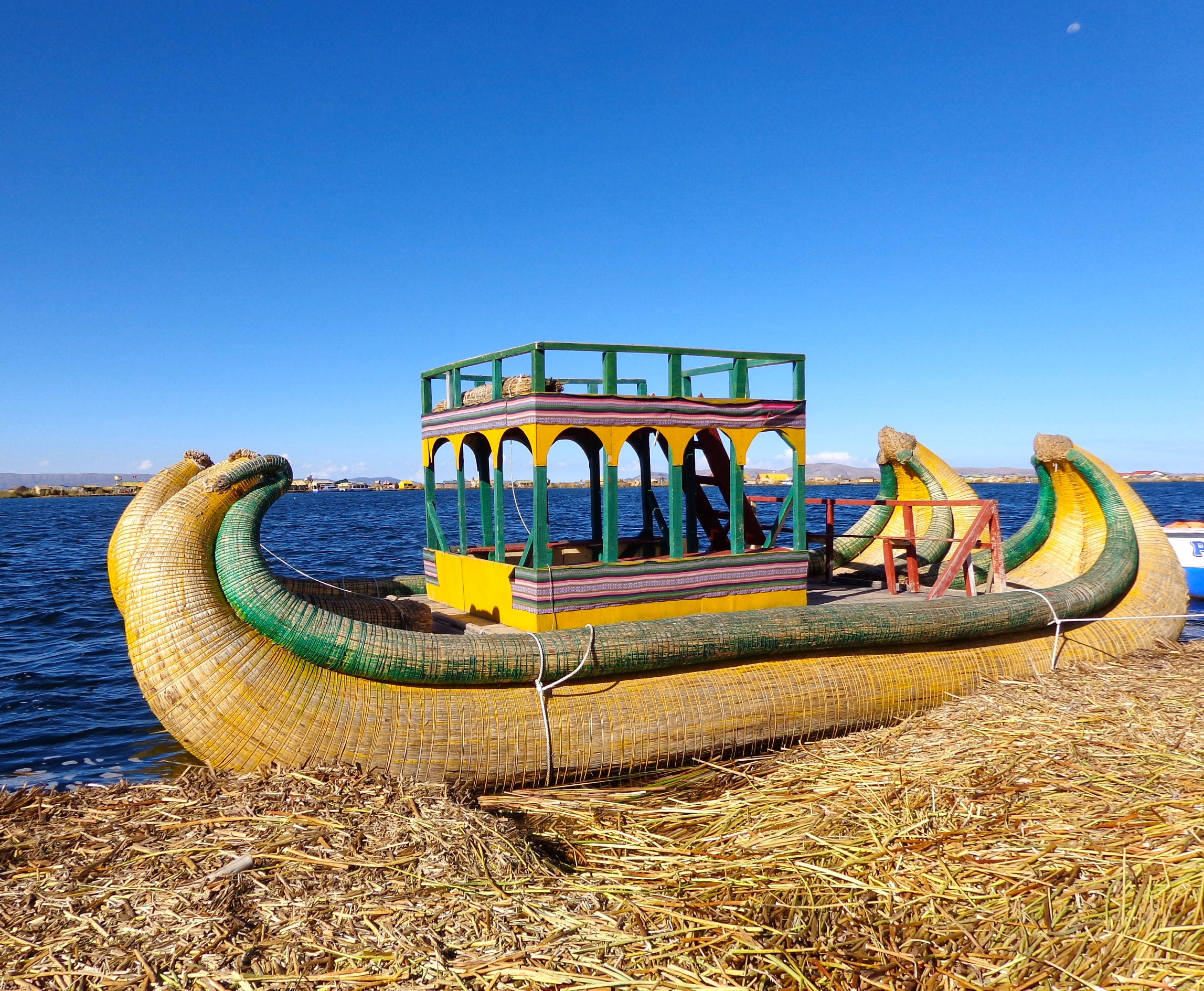 A reed boat made of the same material as the Uros Islands in Puno