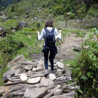 Girl hiking in Peru