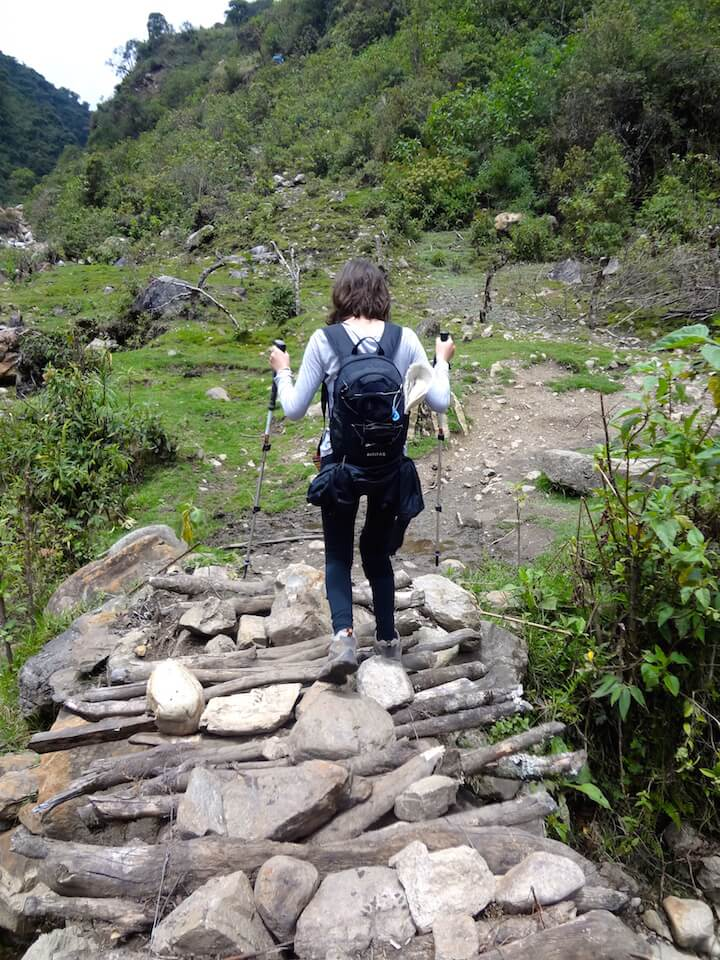 Girl hiking in Peru