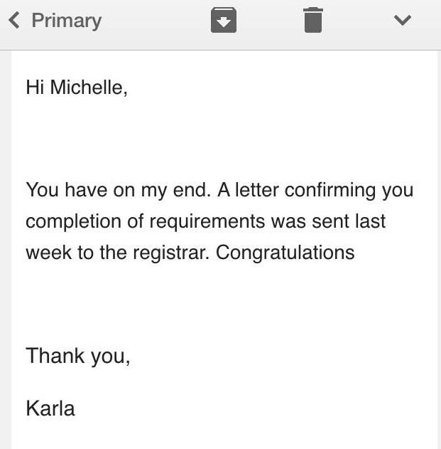 Email that I graduated