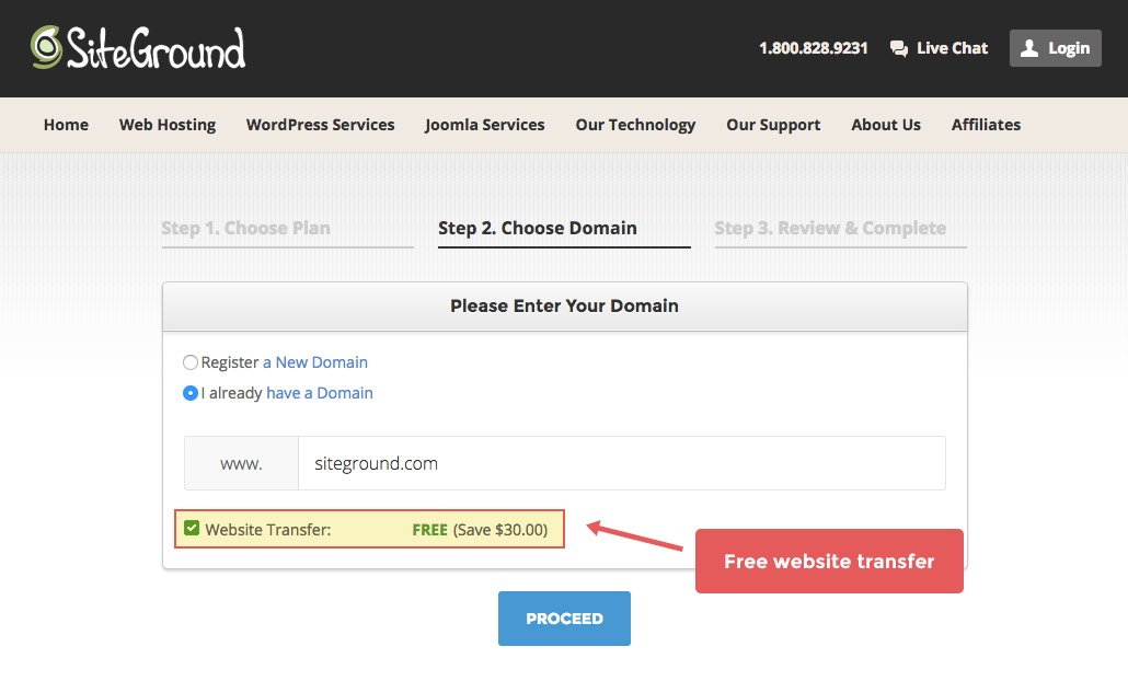 Setting up website with SiteGround step 2