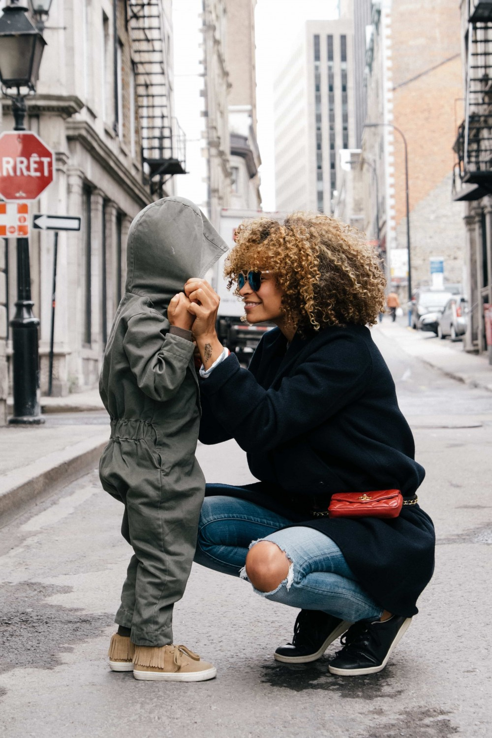 Au pair and child in the street
