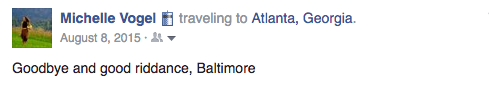 Screenshot of Facebook post saying goodbye to Baltimore