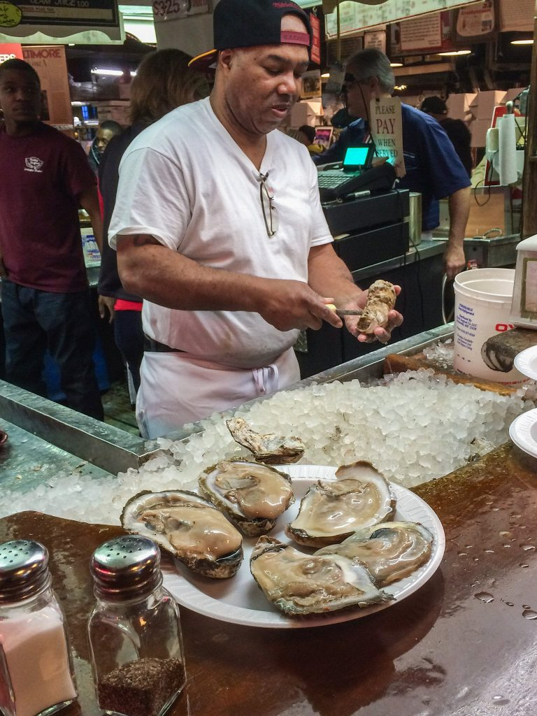 Oysters at Faidley's in Lexington Market, Baltimore