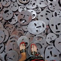 Foot selfie of the faces at the Berlin Jewish Museum