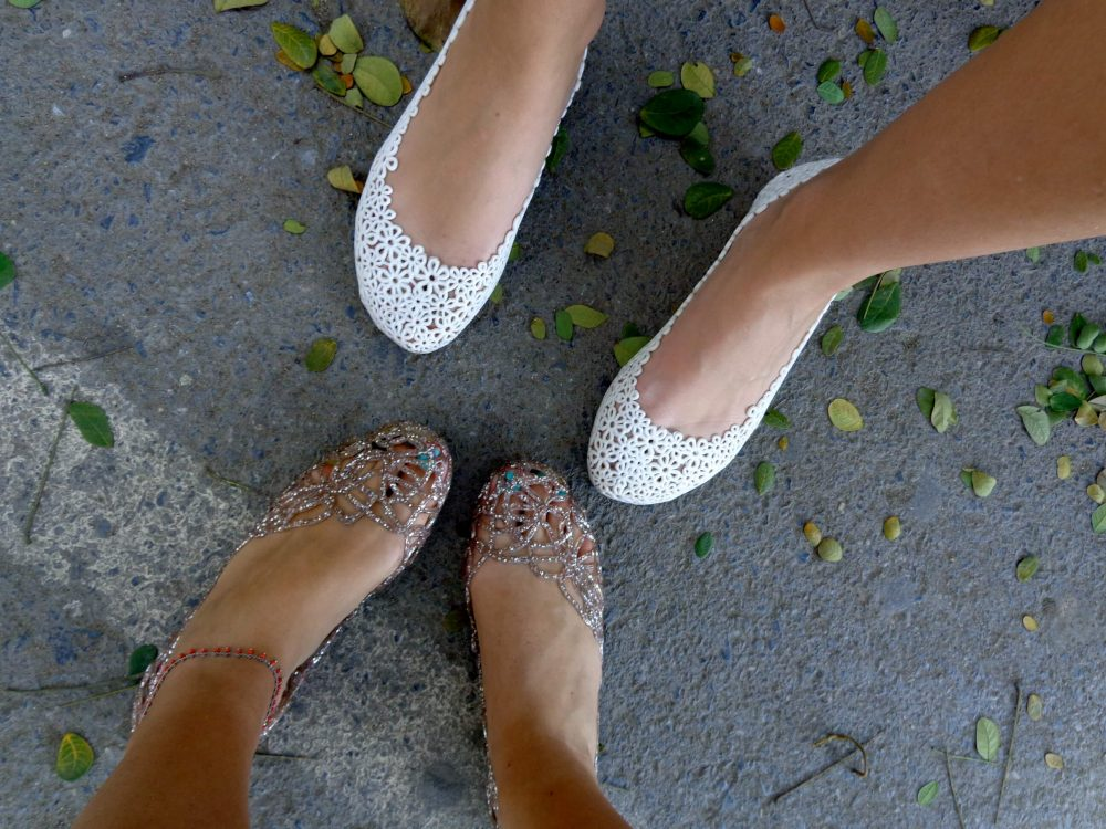 Foot selfie of jelly shoes in Bangkok