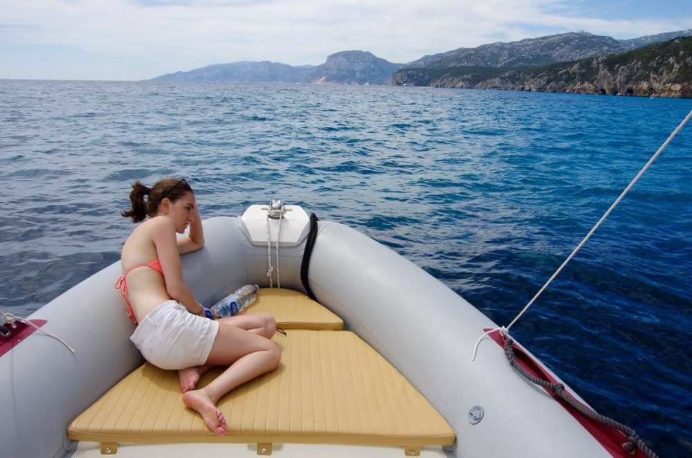 Sick on our rented boat in Sardinia