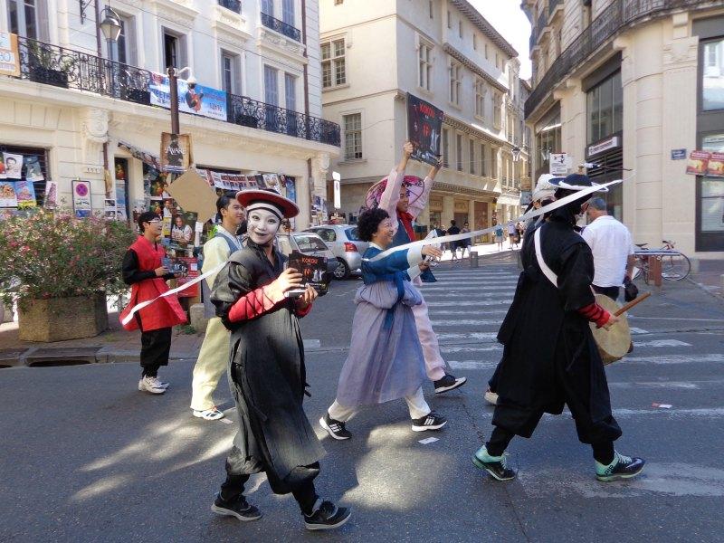 Celebrating in the streets during the festival in Avignon, France