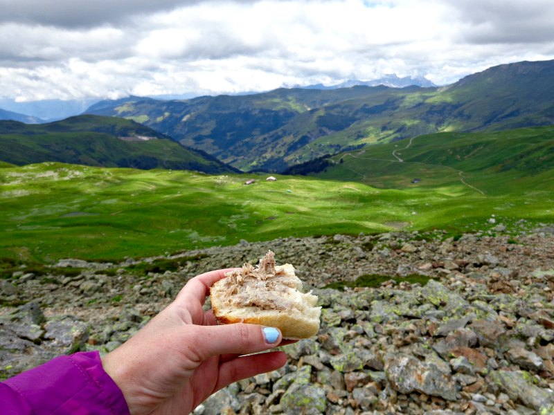 Having lunch while hiking the French Alps