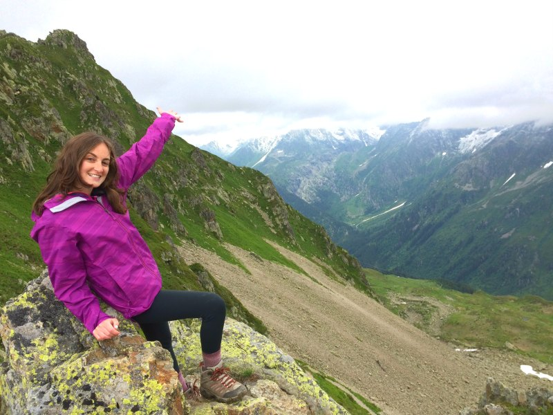 Hiking to the top of the mountain in the Alps