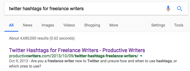 Network on Twitter by Googling good hashtags for your industry