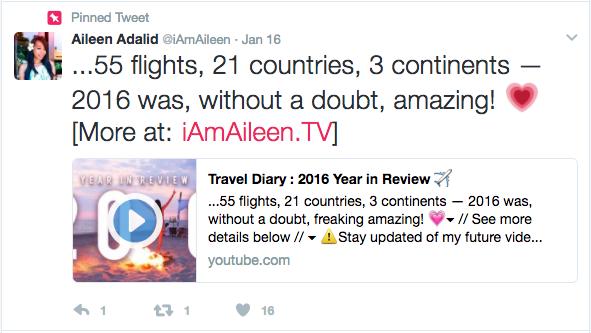 Example of pinned tweet