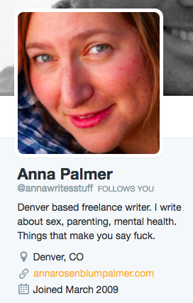 Anna Palmer example of Twitter bio