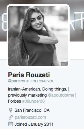 Paris Rouzati's Twitter bio