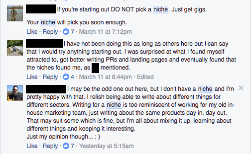 Picking a freelance writer niche Facebook conversation 2