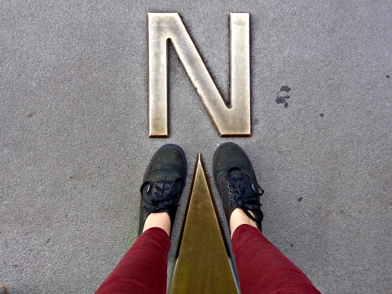 Foot selfie on compass pointing north