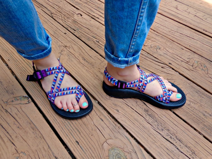 Wearing the Chaco ZX/2 sandals in Camper Purple