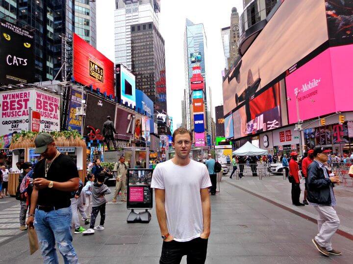 Jordan Sernik in Times Square